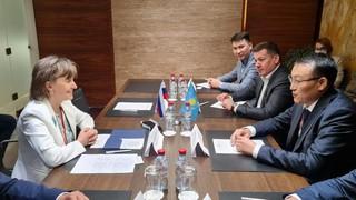 Встреча Вице-министра торговли и интеграции Республики Казахстан К.Торебаева с Генеральным директором АО «Российский экспортный центр» В. Никишиной